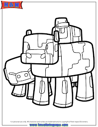 minecraft pig cow and duck coloring page h u0026 m coloring pages