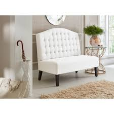 halifax cream bonded leather banquette bench free shipping today