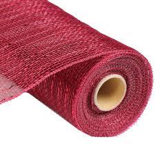 deco poly mesh ribbon burgundy with foil metallic 10