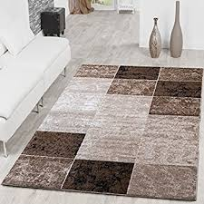 modern rug with check square design for the living room brown