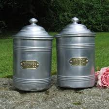 vintage french aluminum kitchen canisters brass labels pasta and