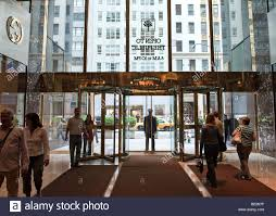 entrance to the trump tower on fifth avenue from the inside stock