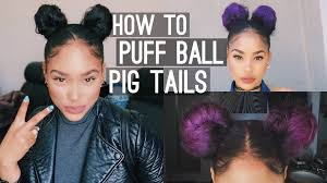 how to puff ball pig tails space buns youtube