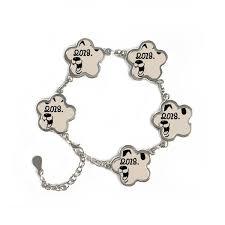new year jewelry 2018 happy new year big dog flower shape metal bracelet