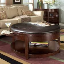 coffee tables attractive brown round leather ottoman coffee
