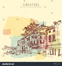singapore china town drawing vintage travel stock vector 324817319