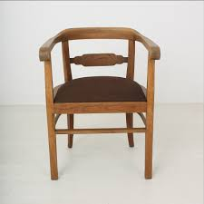 Vintage Brown Leather Chair Vintage Art Deco Oak U0026 Leather Armchair 1920s For Sale At Pamono