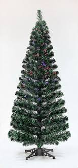 6ft green black fibre optic tinsel tree