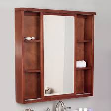 bathroom natural wood frame mirrored medicine cabinets for