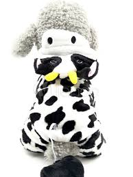 halloween dogs costume milk cow flannel white pet costume
