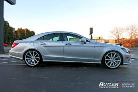 lowered mercedes mercedes cls with 20in vossen vfs1 wheels exclusively from butler