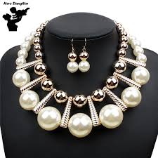 short chain pearl necklace images Short chain new fashion women party big pearl beads jewelry sets jpg