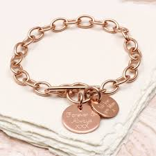 gold chain bracelet with charms images Personalised rose or yellow gold charm chain bracelet by jpg
