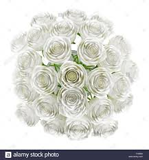 top view of roses in glass vase isolated on white background stock