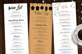 wine list wine menu flyer templates creative market