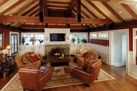 family room addition with rustic beams and vaulted ceiling u2013 on
