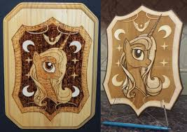 wood burning vs laser earth pony colab by rekibob on