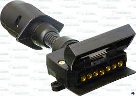 7 pin trailer adapter connector round male plug to flat female