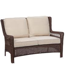 Outdoor Wicker Settee Cushions by Homesullivan Verdon Gorge Brown Oiled Wood Outdoor Loveseat With