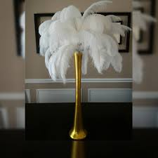 49 gold ostrich feather centerpiece kits with 24
