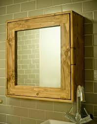 Pine Bathroom Storage Bathroom Cabinet Wood Eco Friendly Door Mirror Two