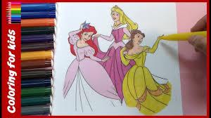 disney princess aurora ariel belle dancing coloring pages