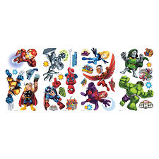 marvel character wall stickers marvel wall decals artequals marvel super hero squad peel and stick wall decals at hayneedle