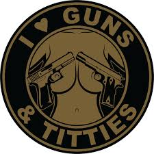 stickers decals swag i love guns and titties sticker black and tan