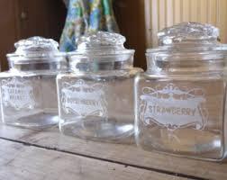 vintage glass canisters kitchen lidded glass jar etsy