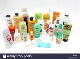 a collection of shampoo conditioners shower gels and bubble bath