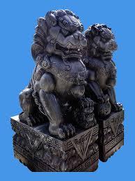 fu dog statues dog black marble statue