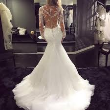 fishtail wedding dress see through sleeves v neck mermaid fishtail wedding