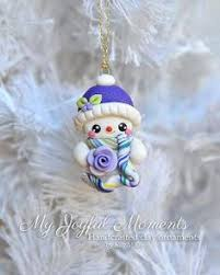 ornament polymer clay snowman ornament