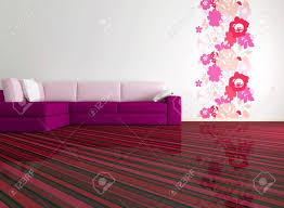 modern floral wallpaper bright interior design of modern living room with big pink sofa