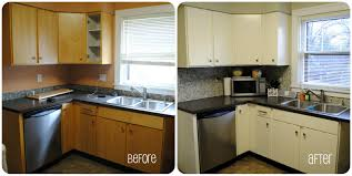 painting cabinets white before and after delightful l shape before and after kitchen remodels decoration with