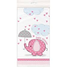Baby Shower Table - plastic pink elephant baby shower table cover 84
