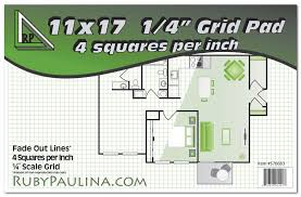 Graph Paper Floor Plan 11x17 Grid Pad 1 4