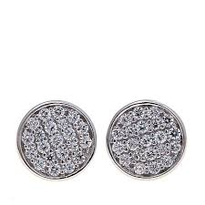 stud ear absolute 38ctw cubic zirconia sterling silver pavé disc stud ear