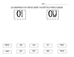phonics cut and paste vowel diphthongs by o h so blessed tpt