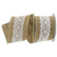 burlap ribbon burlap ribbon with white lace center 2 1 2 hobby lobby 142885