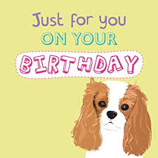 cavalier king charles spaniel waggy tails charity birthday card