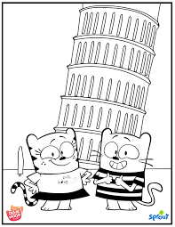 pisa coloring page the ollie and moon show sprout