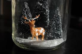 decorations glitter tree and indeer in jar snow