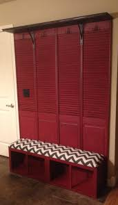 Repurposed Kitchen Cabinets Mudroom Bench Made From Repurposed Shutter Doors And Kitchen