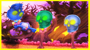 halloween cars race in a spooky trick or treat forest