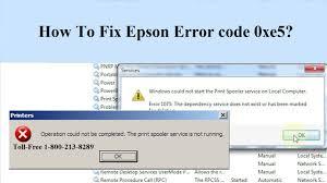how to fix epson printer error code 0xe5 1 800 610 6962