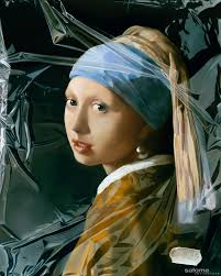 painting girl with a pearl earring artwork girl with a pearl earring in plastic tjalf sparnaay