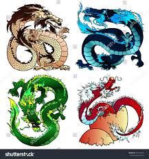 strong asian east dragons stock vector 574316398