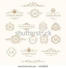 set elegant floral monograms borders design stock illustration