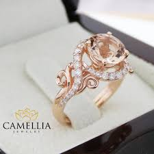 gold and morganite ring 14k gold engagement ring gold morganite ring pink